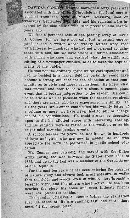 Milford Chronicle obituary for David A. Conner, published on editorial page of October 3, 1919 issue