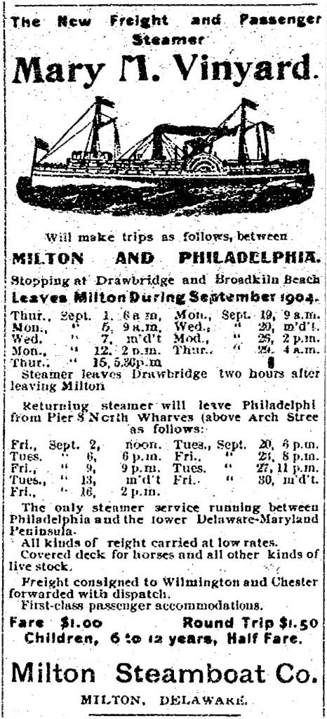 Milton Steamer Schedule in September 1904