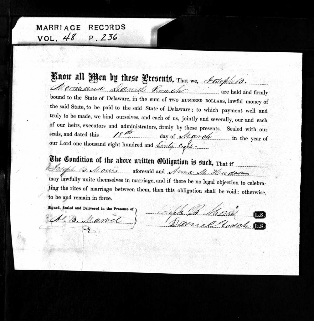 J. B. Morris & Anne M. Hudson Marriage