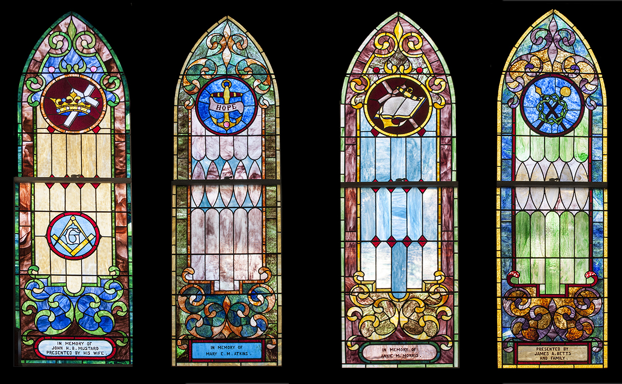 Symbols in the windows blogger on the broadkill the north wall of the church retains its original length and has four windows in it john mustard in memory of john h b mustard far left presented by biocorpaavc Gallery