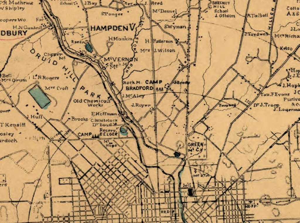 Detail from 1863 military map of Baltimore County.