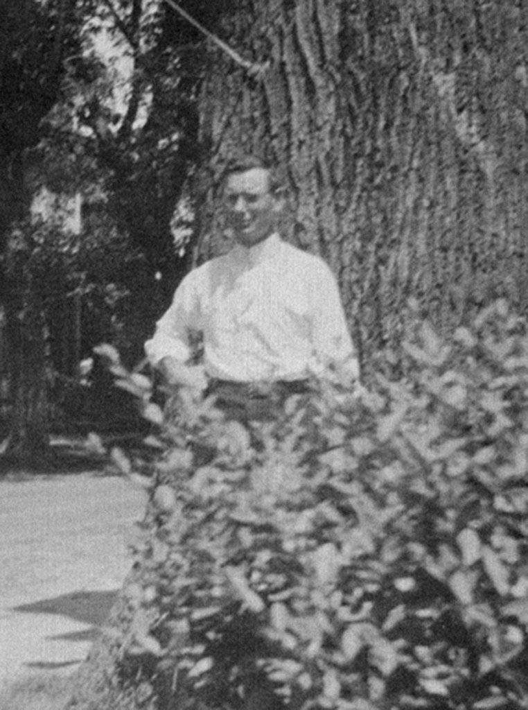 Only known photograph of David A. Conner, probably taken by daughter Laura, in front of a large poplar tree at the corner of Federal and Poplar Streets. The street is named for the tree, which was cut down some years later after having dangerously decayed.