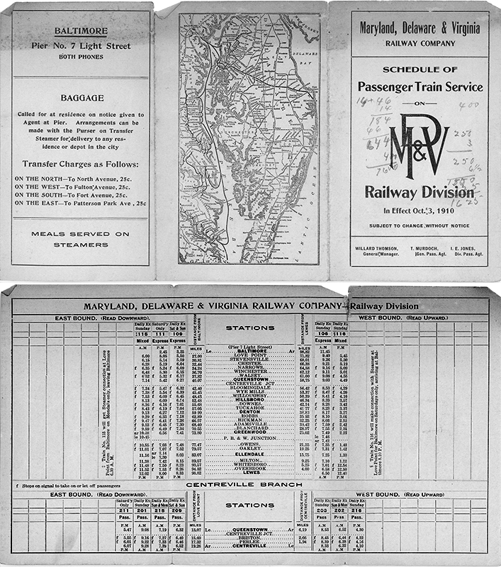 Passenger service schedule for the only rail line that served Milton directly, effective October 3, 1910.