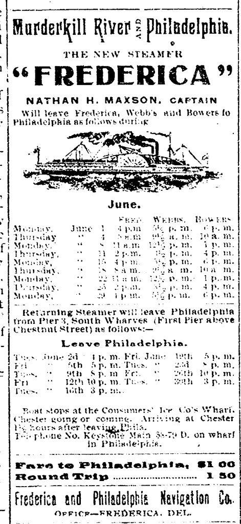 Steamer Frederica Schedule, June 1908
