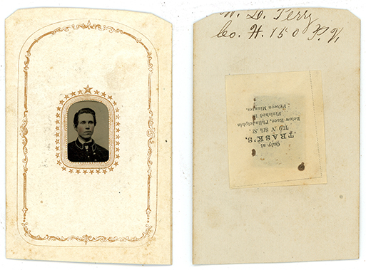 Original miniature tintype of William L. Perry, front and back shown