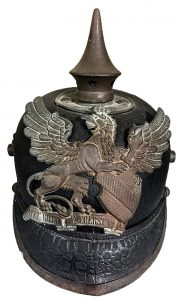 Prussian-style helmet worn by members of the Milton cornet band on the 1890's