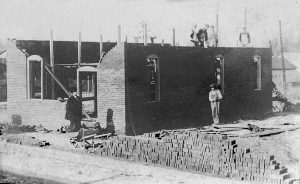 Pumping station building under construction, 1915. The man at the extreme left is believed to be Fred Pepper, on subcontract to William Conwell (Courtesy Fred Pepper)