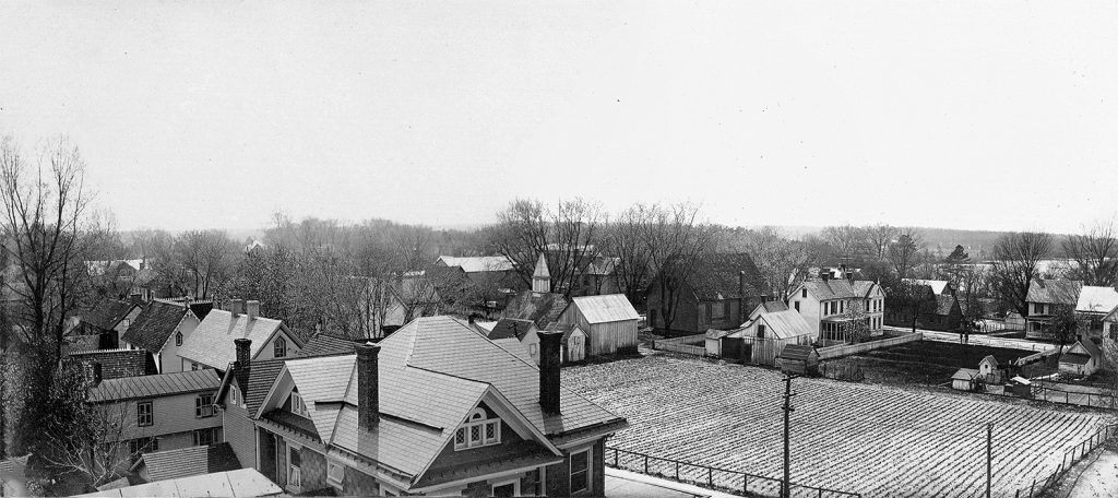 A composite of two photographs taken by Dr. Johnson from the school cupola, ca. 1910.