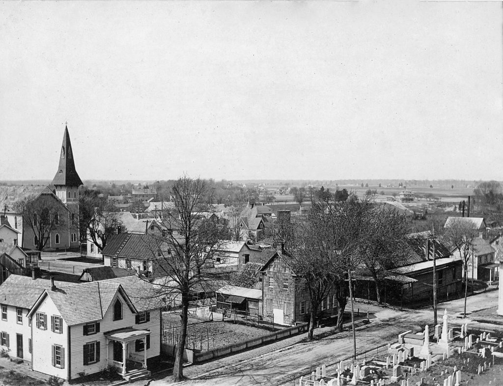 View from the cupola of Milton Public School ca. 1910; photographer uncertain