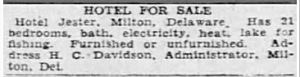 Classified ad offering Hart House for sale, 1929